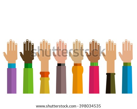 diversity hands together illustration - stock vector