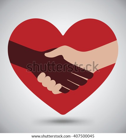 Diversity Handshake On Red Heart - stock vector