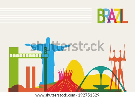 Diversity monuments of Brazil, famous skyline colors transparency. EPS10 vector organized in layers for easy editing. - stock vector