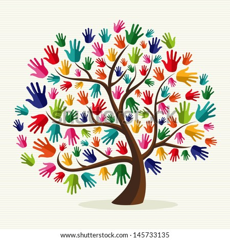 Diversity multi-ethnic hand tree illustration over stripe pattern background. Vector file layered for easy manipulation and custom coloring. - stock vector