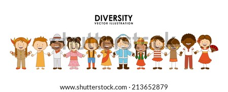 diversity of races over white   background vector illustration - stock vector