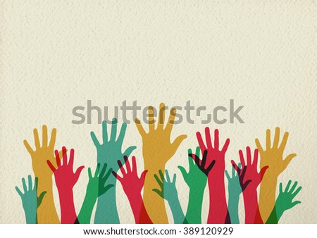 Diversity people group raising hands, colorful diverse teamwork collaboration concept illustration on texture background. EPS10 vector. - stock vector
