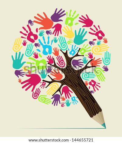 Diversity people hand concept pencil tree. Vector illustration layered for easy manipulation and custom coloring. - stock vector