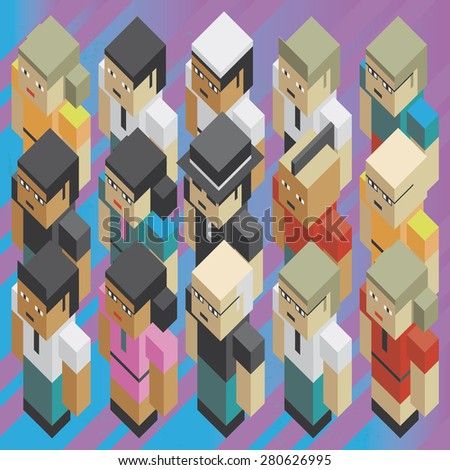 Diversity people isometric Illustration of the concept of diversity people of the earth, or diversity global teamwork, in isometric old video game style. Every figure is removable from the background. - stock vector