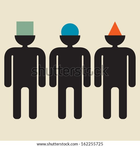 Diversity:  People Think Differently   - stock vector