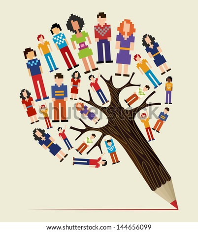 Diversity social media networks pixel people concept pencil tree. Vector illustration layered for easy manipulation and custom coloring. - stock vector