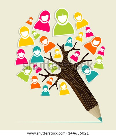 Diversity social media people profile concept pencil tree. Vector illustration layered for easy manipulation and custom coloring. - stock vector