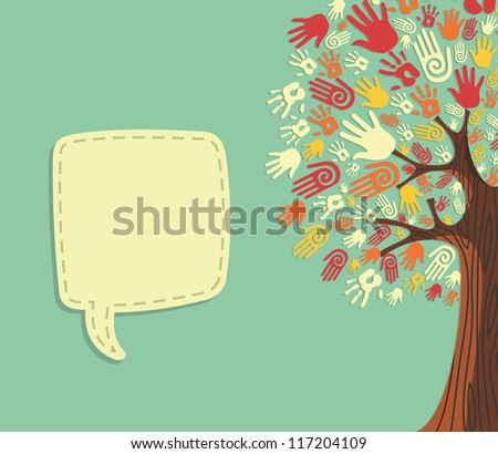 Diversity tree hands illustration with blank for text greeting card template. Vector file layered for easy manipulation and custom coloring. - stock vector
