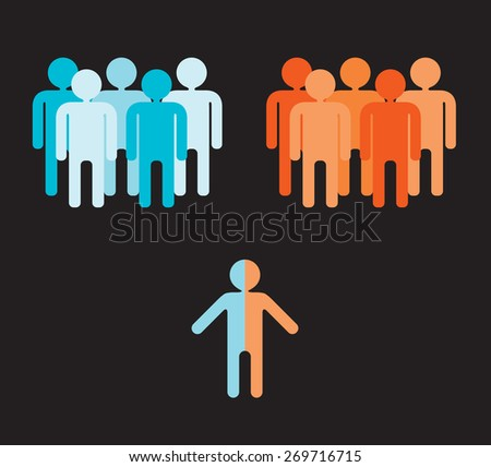 divided person can not decide which group of people to join - stock vector