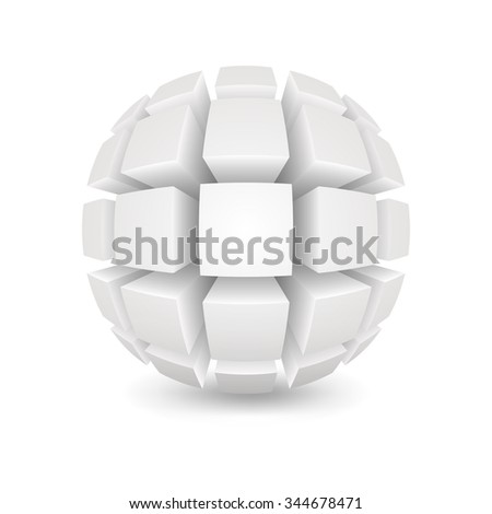 Divided white sphere. Object on a white background. Mesh gradient was used (shadow) and transparency. EPS-10.