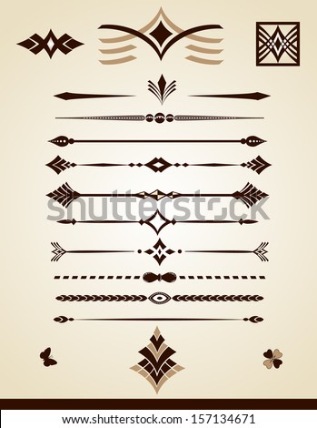 Dividing lines and page decorations, jpg file is also available - stock vector