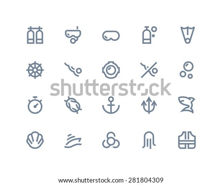 Diving and water activities icons. Line series - stock vector