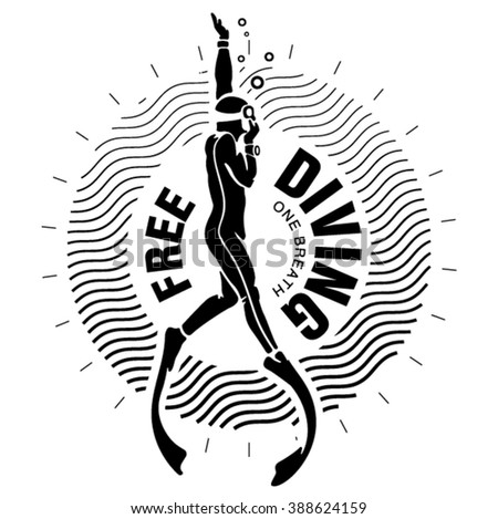Diving club label. Illustration in the engraving style - stock vector