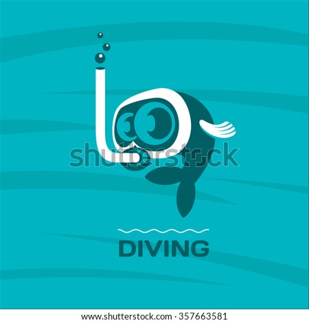Diving. Fish diver mask with snorkel. Vector logo. 3 - stock vector