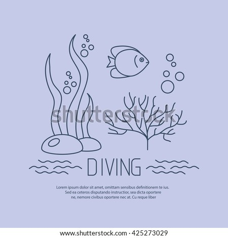 Diving icon with fishs and seaweed