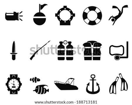diving icons set - stock vector