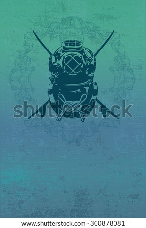 diving suit shield with grunge blue background - stock vector