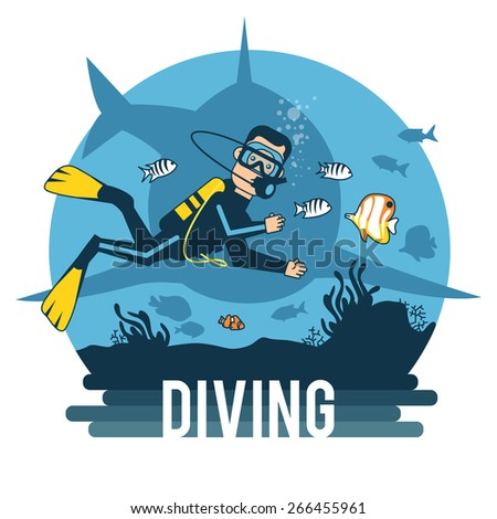 Diving with pleasure. Logo. Diving for fun. - stock vector