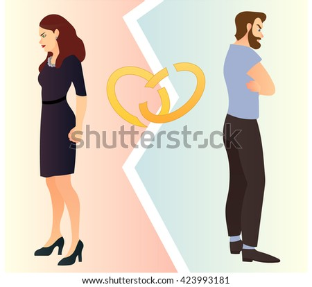 Divorcing couple  illustration - stock vector