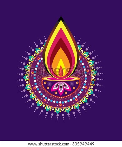 Diwali candle light (vector) - stock vector