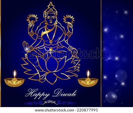 Diwali card design, diya with laxmi background - vector eps10 - stock vector
