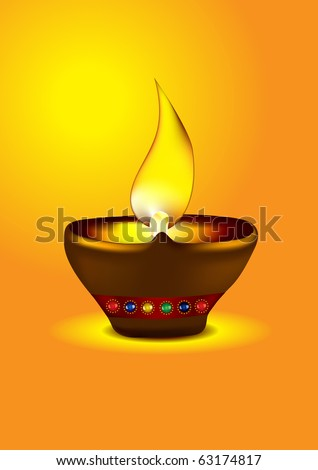 Diwali Diya - Oil lamp for dipawali celebration - Vector illustration