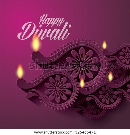 Diwali Diya Vector (Oil Lamp) - stock vector