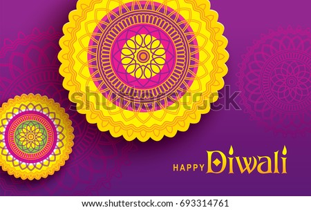 Diwali festival greeting card with beautiful rangoli background