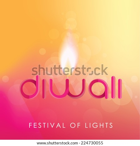Diwali festival of lights decorative text isolated on bright background with candle light - stock vector