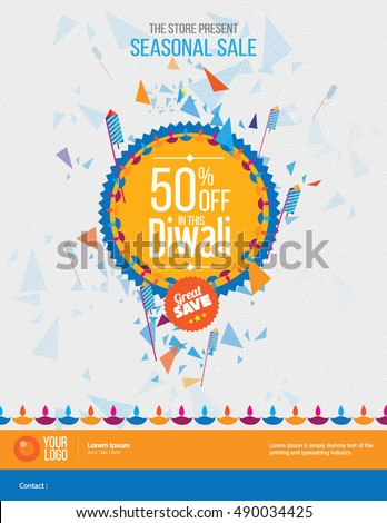 Diwali Festival Offer Poster Design Template with 50% Discount Tag
