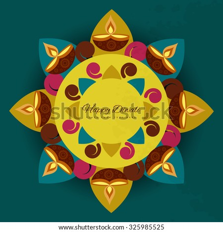 Diwali festival with colorful lamps beautiful for rangoli card design  - stock vector