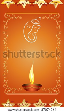 Diwali Ganesha Card Design - stock vector