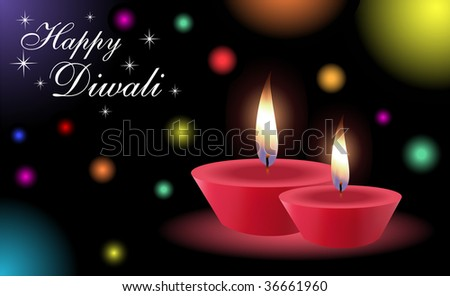 Diwali Greetings with Glowing Lamps (Vector) -- Check My Portfolio for More Like This.