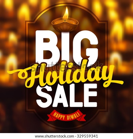 Diwali holiday sale, bright background for business promotion. Vector illustration. - stock vector