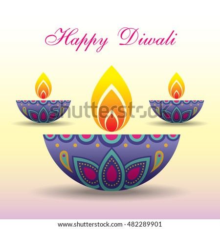 Diwali Or Deepavali Greeting With Beautiful Burning Diya India Oil Lamp Festival