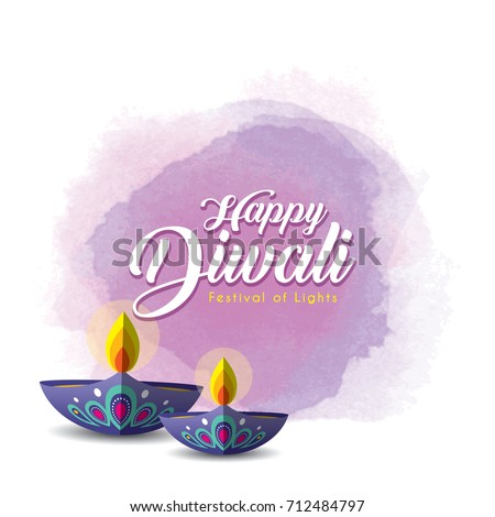 Diwali Or Deepavali Greetings Template With Beautiful Burning Diya India Oil Lamp On