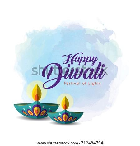 Diwali deepavali greetings template beautiful burning stock vector diwali or deepavali greetings template with beautiful burning diwali diya india oil lamp on m4hsunfo