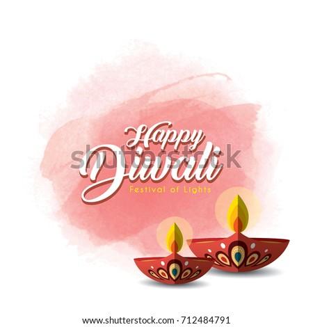 Diwali deepavali greetings template beautiful burning stock photo diwali or deepavali greetings template with beautiful burning diwali diya india oil lamp on m4hsunfo
