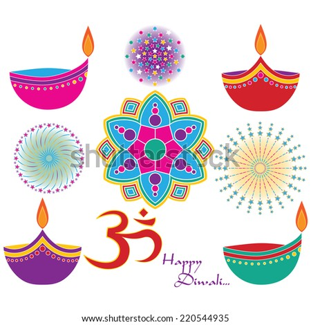 Diwali Vector Clip Art Set. Om, Rangoli, Diya and Fireworks Graphics included. Created using Vector Software (Adobe Illustrator). - stock vector