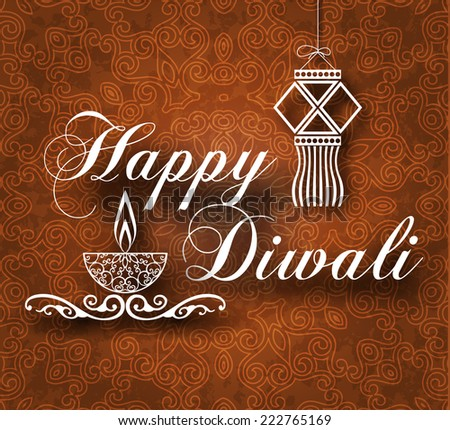 Diwali Vintage Background with Decorative Lamp & Kandil - stock vector