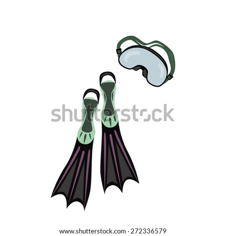 Diwing fippers and mask - stock vector