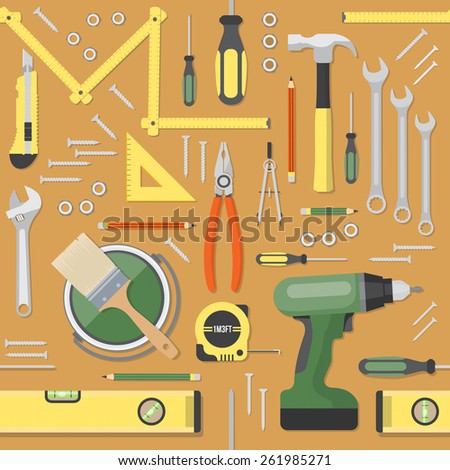 diy and home renovation tools seamless pattern background