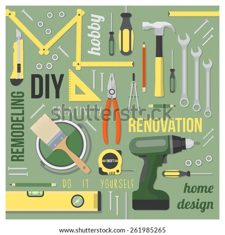 DIY and home renovation tools set with words and concepts in a square frame on green background - stock vector