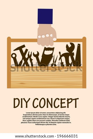 DIY concept with range of hand tools in a wooden toolbox being carried by a hand - stock vector