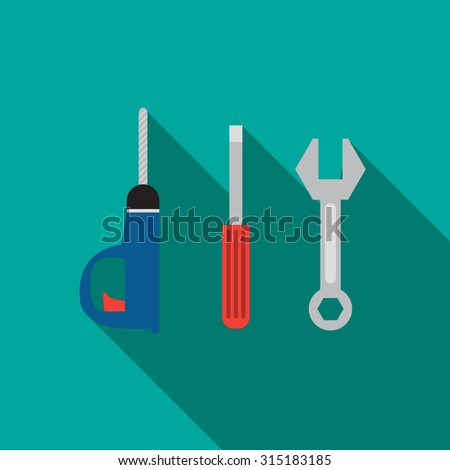DIY flat icon in symbol text style with long shadow - stock vector