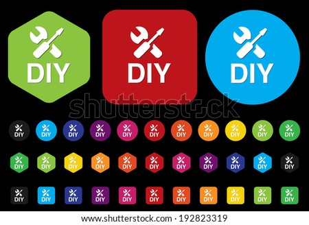 Diy icon with white design - stock vector
