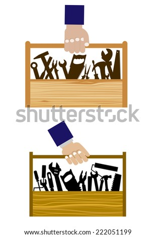 DIY icons with set of hand equipment tools in a wooden toolbox being carried by a human hand - stock vector