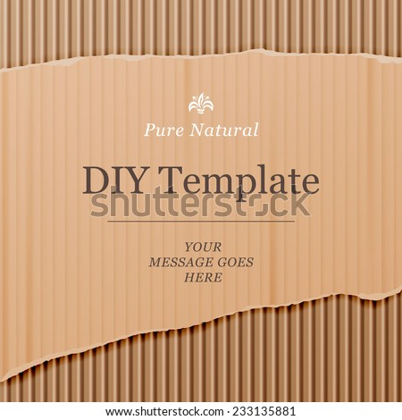 Diy template with cardboard texture background, vector illustration. - stock vector