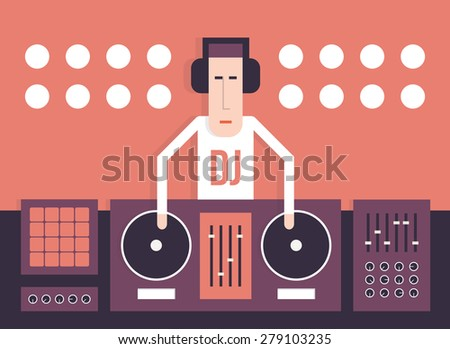 DJ and his equipment, dance music, flat style image, vector cartoon illustration on a red background