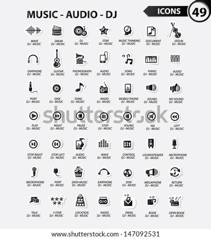 Dj and music icon set,Black version - stock vector
